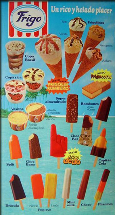 cartel helados 1980
